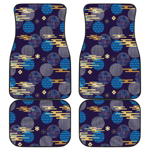 Blue japanese pattern cloud wave flower Front and Back Car Mats