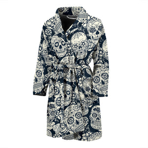 Sugar Skull Black White Pattern Men'S Bathrobe