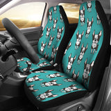 Hand Drawn Boston Terrier Dog Pattern  Universal Fit Car Seat Covers