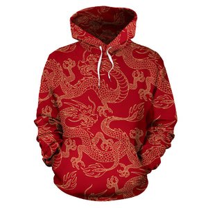 Gold Dragons Red Background Men Women Pullover Hoodie