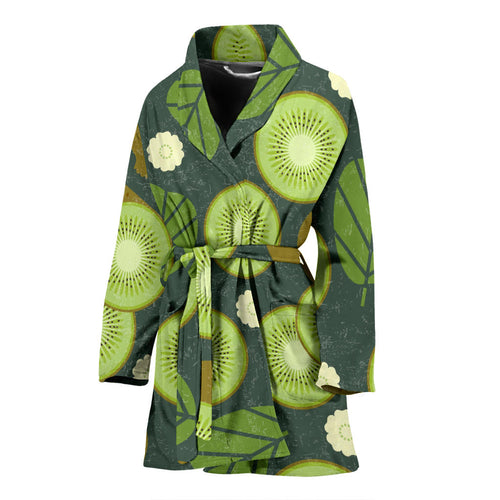 Whole sliced kiwi leave and flower Women's Bathrobe
