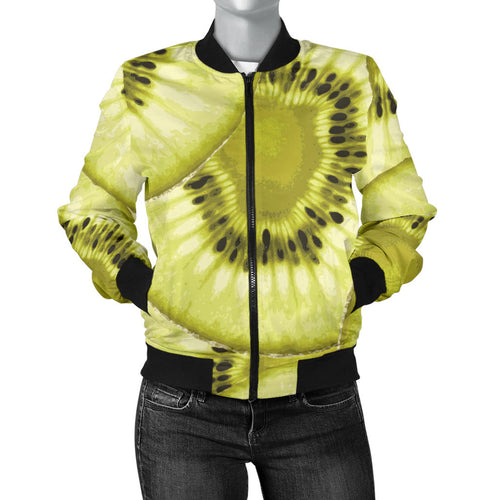 Sliced Kiwi Pattern Women'S Bomber Jacket