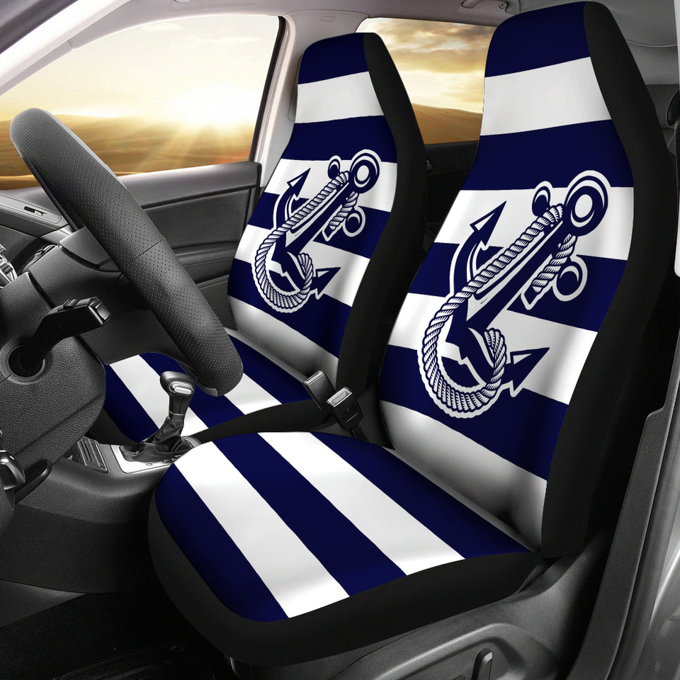 Car Seat Covers - Boat Anchor Strip Navy
