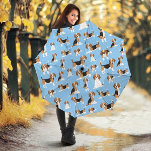 Beagle dog blue background pattern Umbrella