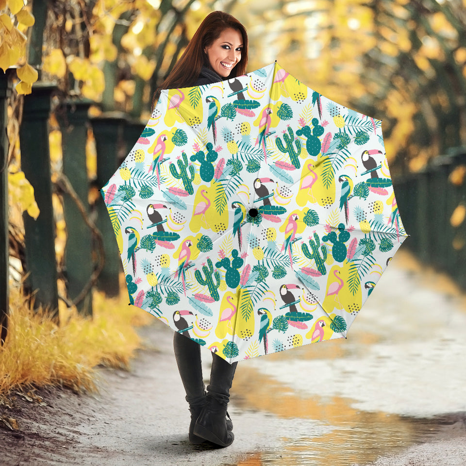 Cute Parrot Toucan Flamingo Cactus Exotic Leaves Pattern Umbrella
