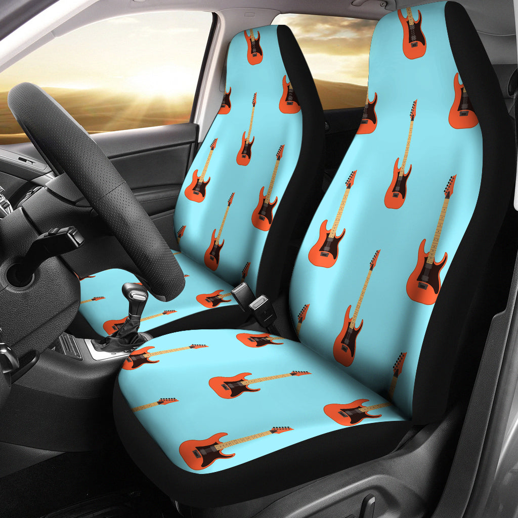 Remarkable Electric Guitar Pattern Light Blue Background Universal Fit Car Seat Covers Ibusinesslaw Wood Chair Design Ideas Ibusinesslaworg
