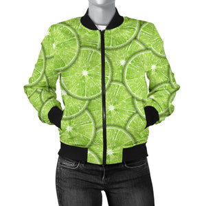 Slices Of Lime Pattern Women'S Bomber Jacket