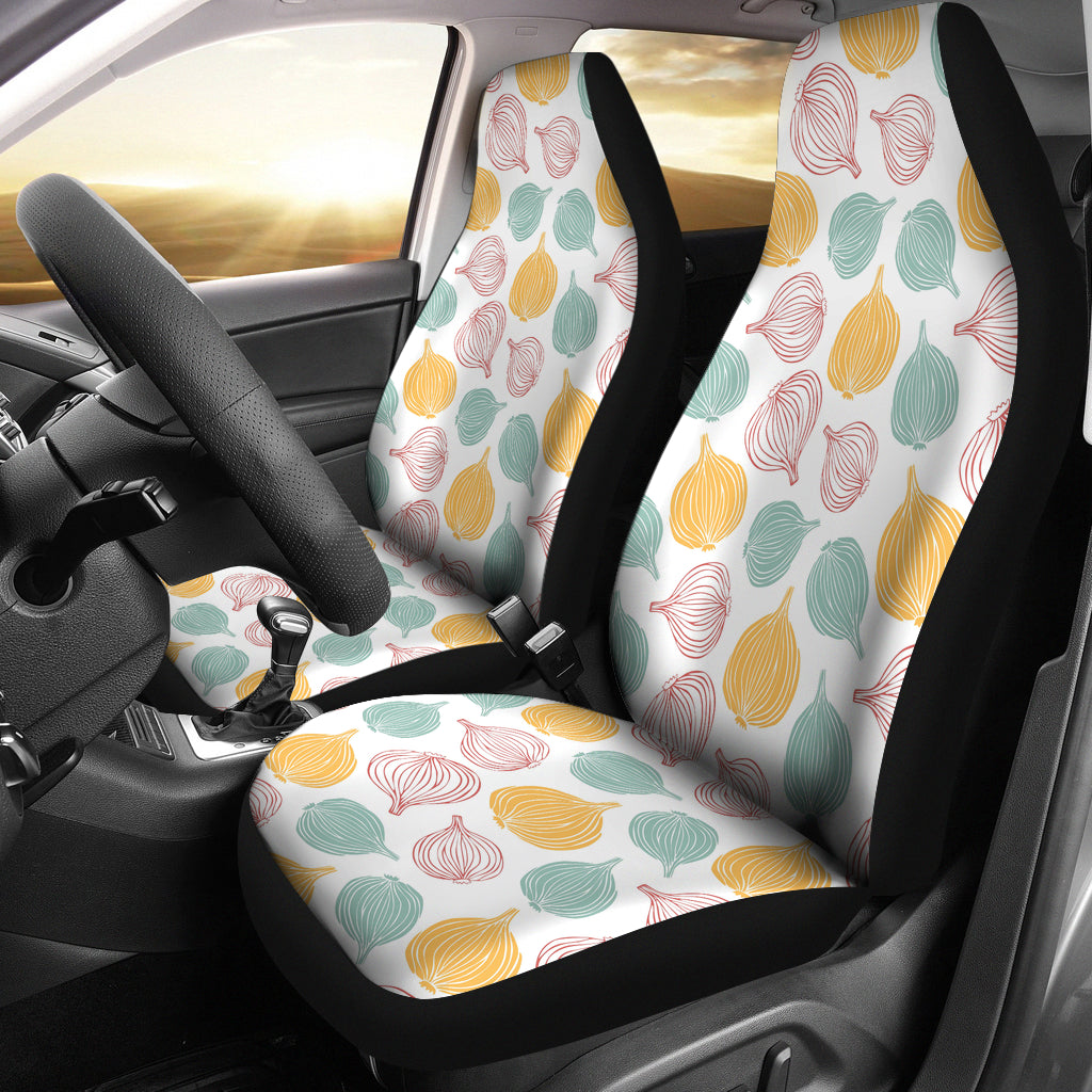 Colorful Onions White Background Universal Fit Car Seat Covers