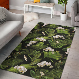 White orchid flower tropical leaves pattern blackground Area Rug