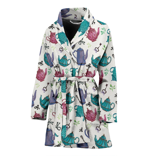 Tea Pots Pattern Print Design 05 Women's Bathrobe