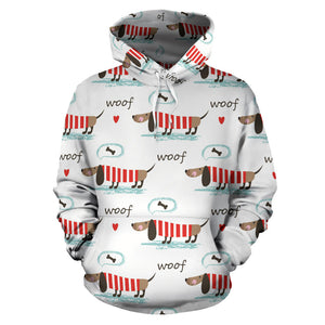 Cute Dachshund Bone Pattern Men Women Pullover Hoodie