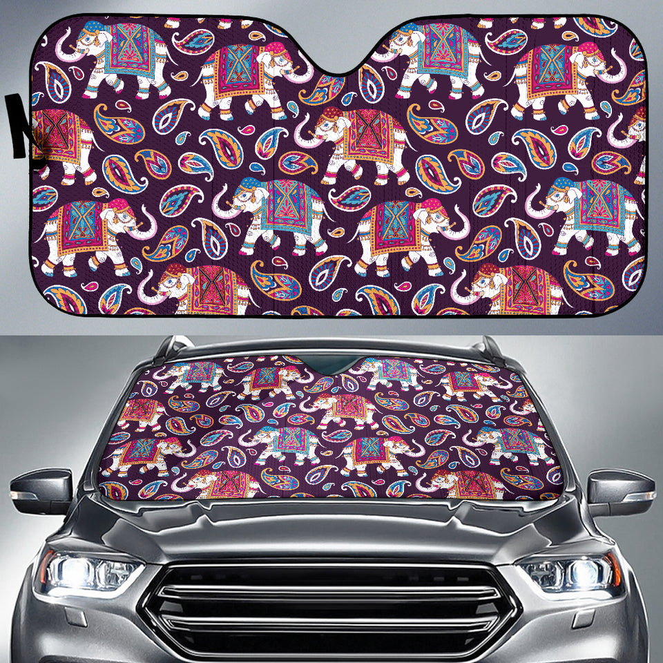 Elephant Indian Style Ornament Pattern Car Sun Shade