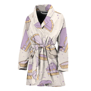 Cakes Pies Tarts Muffins And Eclairs Purple Blueberry Topping Pattern Women'S Bathrobe