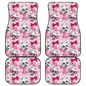 Yorkshire Terrier Pattern Print Design 03 Front and Back Car Mats