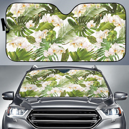 White orchid flower tropical leaves pattern Car Sun Shade