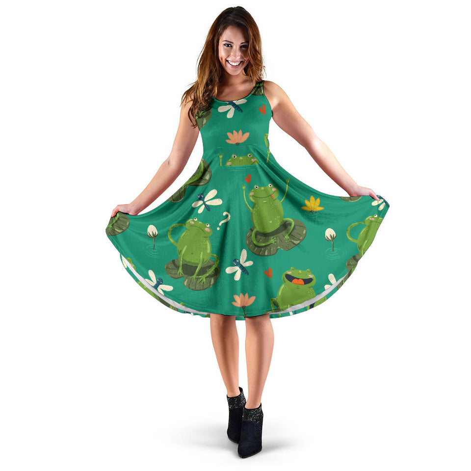 Cute frog dragonfly design pattern Sleeveless Midi Dress