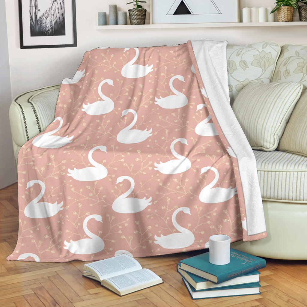 Swan Flower Light Pink Background Premium Blanket