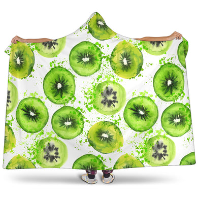 Watercolor Kiwi Pattern Hooded Blanket