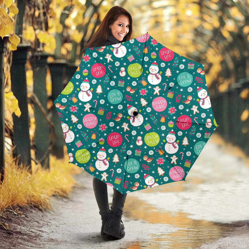Snowman Bird Decorative Elements Christmas Pattern Umbrella