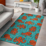 Octopus turquoise background Area Rug
