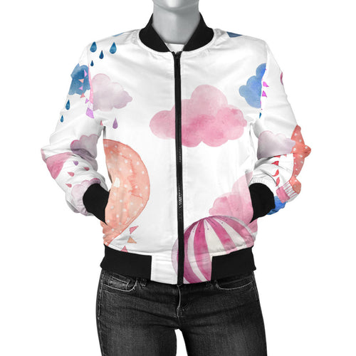 Watercolor Air Balloon Cloud Pattern Women'S Bomber Jacket