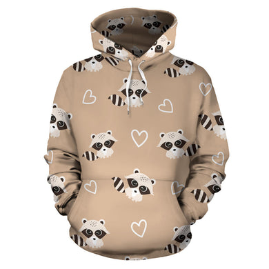 Cute raccoon heart pattern Men Women Pullover Hoodie