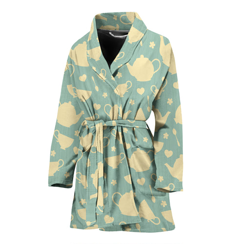 Tea Pots Pattern Print Design 02 Women's Bathrobe