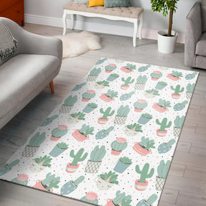 Pastel color cactus pattern  Area Rug