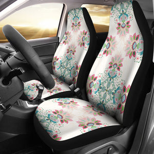 Square floral indian flower pattern Universal Fit Car Seat Covers