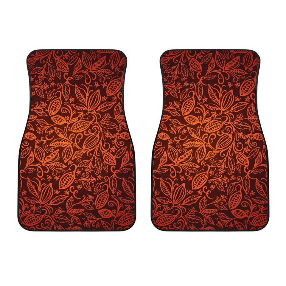 Cocoa Beans Tribal Polynesian Pattern  Front Car Mats