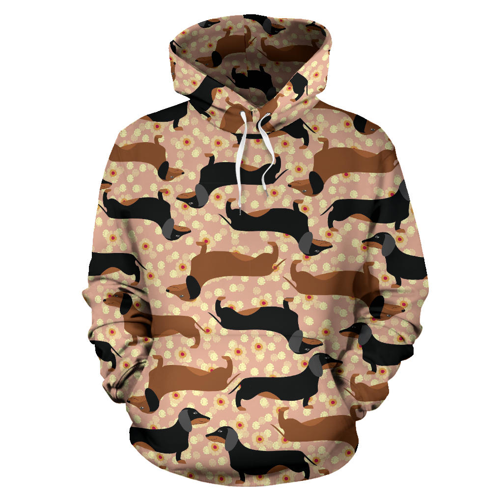 Dachshund Floral Background Men Women Pullover Hoodie