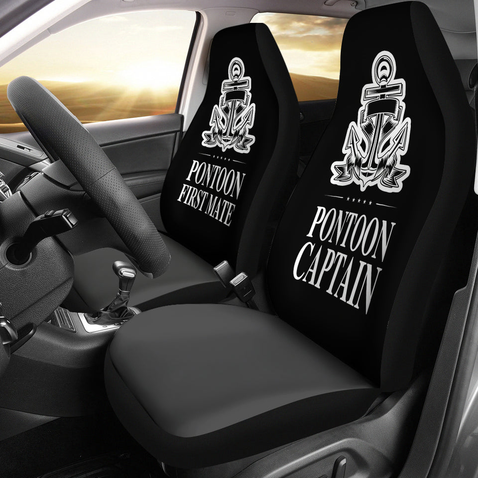 Car Seat Covers - Pontoon Captain And First Mate Black