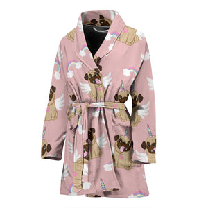 Cute unicorn pug pattern Women's Bathrobe