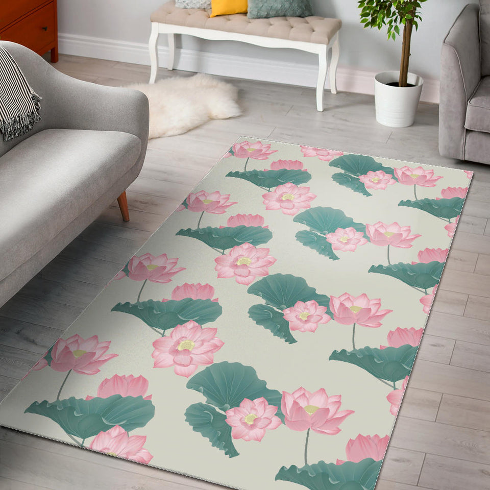 Pink Lotus Waterlily Leaves Pattern Area Rug
