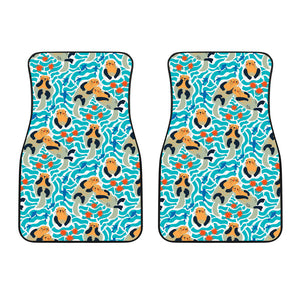 Cute sea otters fishe sea urchin pattern Front Car Mats