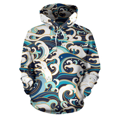 Japanese Wave Pattern Men Women Pullover Hoodie