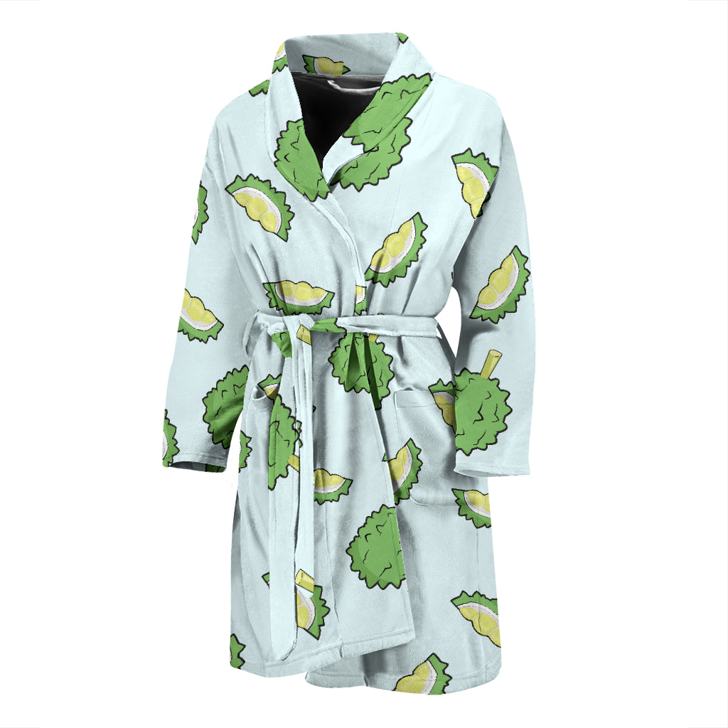 Durian Pattern Blue Background Men'S Bathrobe