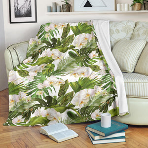 White orchid flower tropical leaves pattern Premium Blanket