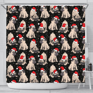 Christmas Pugs Santa_s Red Cap Pattern Shower Curtain Fulfilled In US