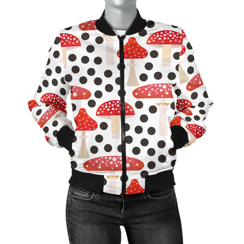 Red Mushroom Dot Pattern Women'S Bomber Jacket