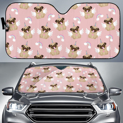 Cute unicorn pug pattern Car Sun Shade