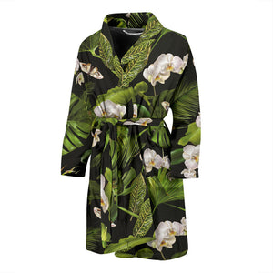 White Orchid Flower Tropical Leaves Pattern Blackground Men'S Bathrobe