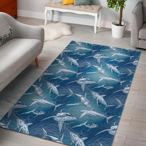 Shark hand drawn Area Rug