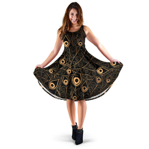 Gold Peacock Feather Pattern Sleeveless Midi Dress