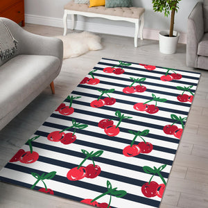 Hand Drawn Cherry Pattern Striped Background Area Rug