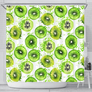 Watercolor kiwi pattern Shower Curtain