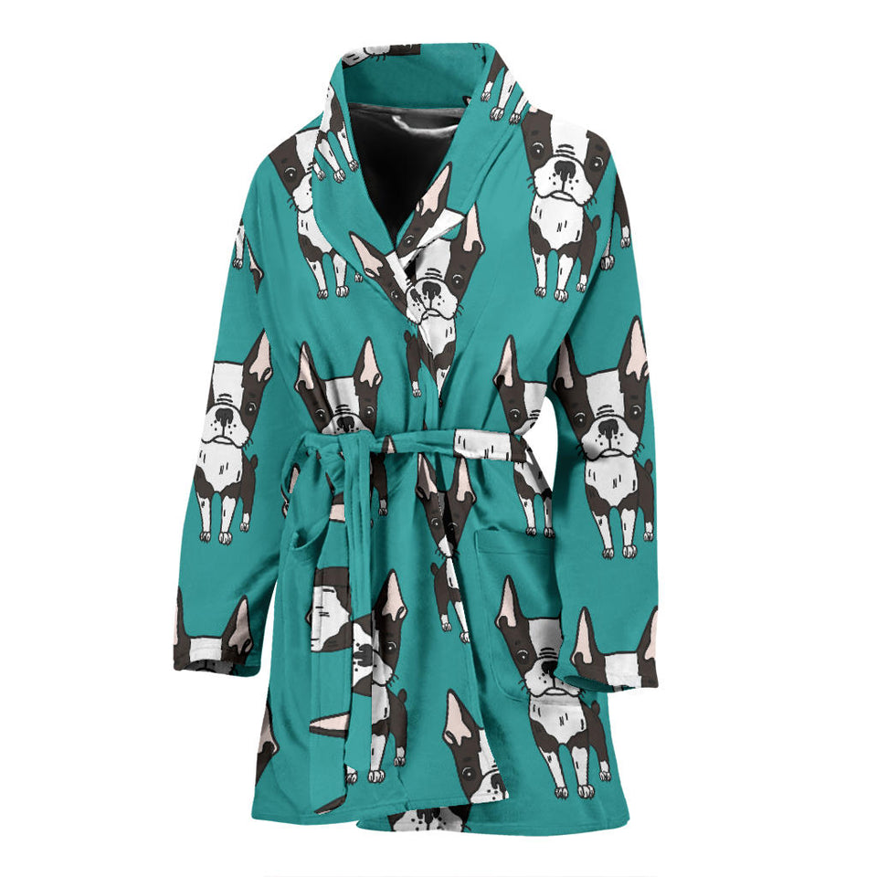 Hand Drawn Boston Terrier Dog Pattern Women'S Bathrobe