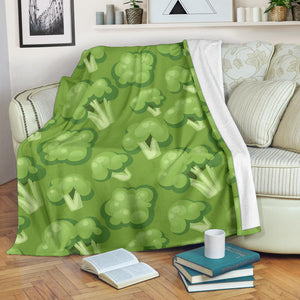 Broccoli pattern green background Premium Blanket