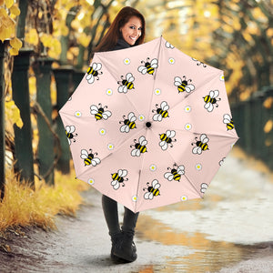 Cute bee flower pattern pink background Umbrella