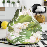 White orchid flower tropical leaves pattern Bean Bag Chair